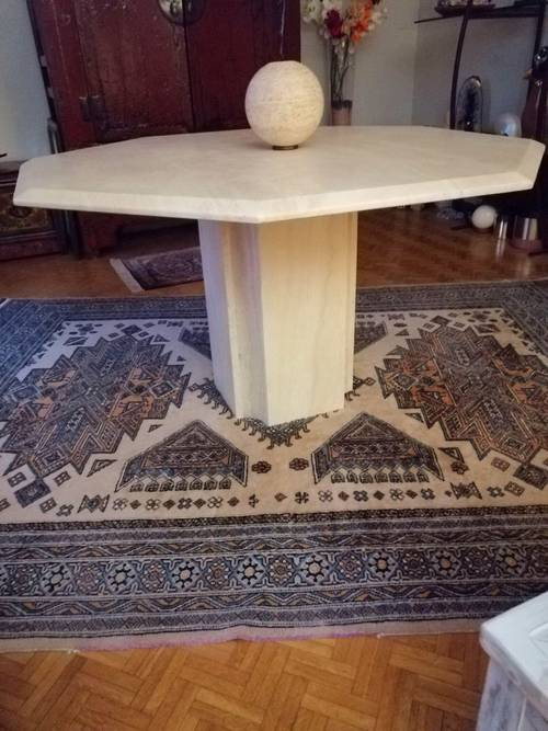 Vends table Design Vintage 130 travertin. Comme Neuf