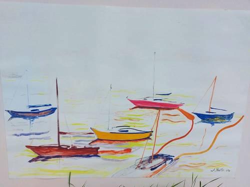 Vends tableau acrylique sur papier, bateaux