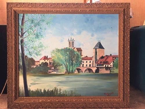 Tableau Moret-sur-Loing signé Pierre Quet