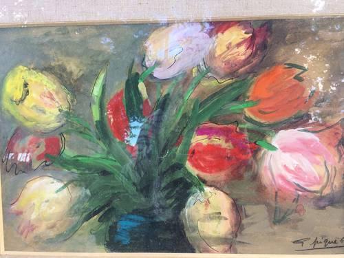 Vends tableau signé motifs fleurs