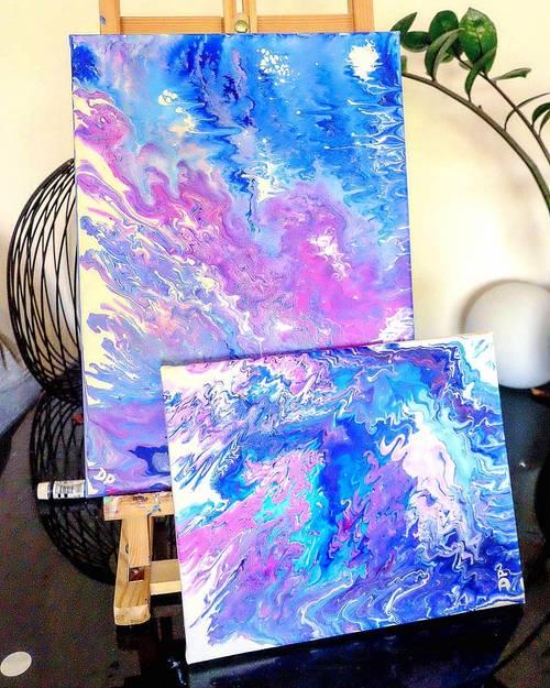 Vends Duo tableaux Purple motion