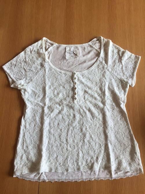 Vends un teeshirt blanc à dentelle femme taille M état neuf H&M