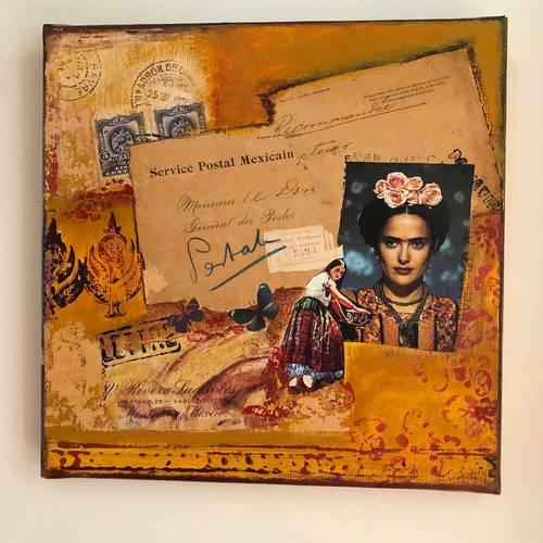 """Tableau collage et acrylique """"Service postal mexicain"""" œuvre originale"""