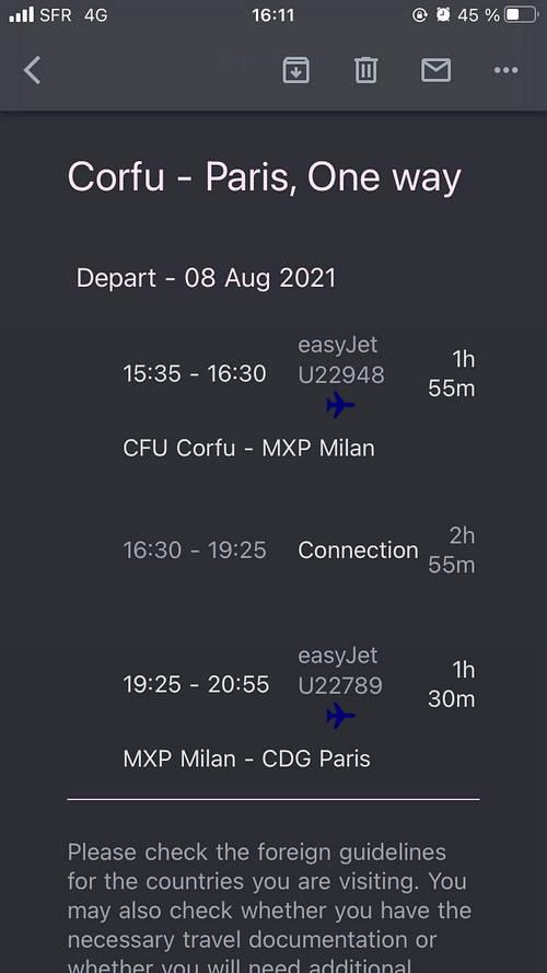 Vends billets Avion Corfou → - 8Août - 4places