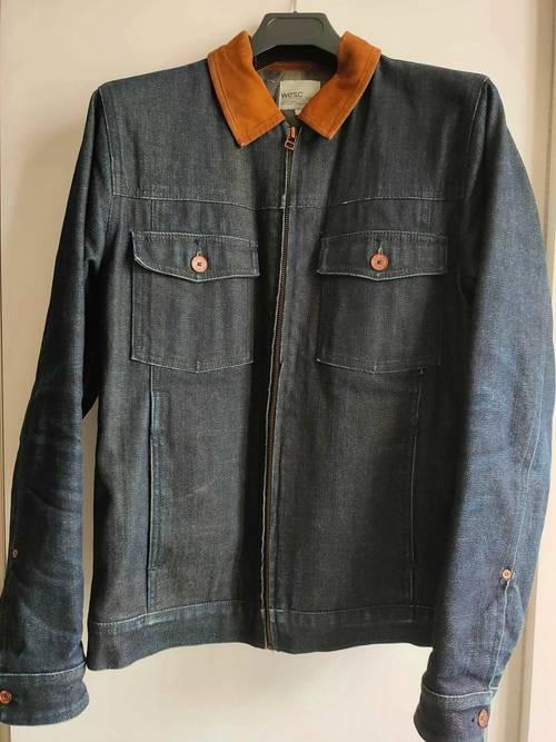 Veste en jeans col en daim, comme neuve - Taille XS